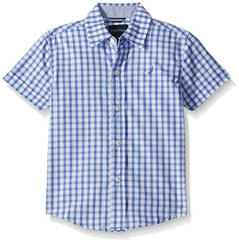 Nautica Little Boys' Short Sleeve Gingham Woven Shirt, French Blue, Extra Large (7X) -