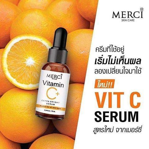 MERCI Vitamin C Extra Bright Serum For All Skin .Anti Aging for Face and Body, With Collagen, Moisturizing & Brightening your skin, acne scar remove face serum 10ml