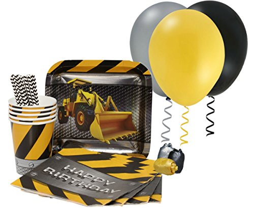 Construction Zone Party Snack Supplies - Bundle Serving for 8 (Construction Theme Party Ideas)