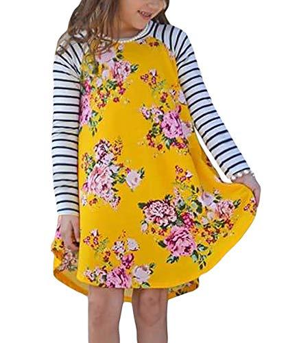 Blibea Big Girls Dresses YellowToddler Fall Winter Casual Floral Print Long Striped Sleeve Loose Swing Shirt Midi Dresses Size 6 7 -