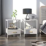 Lifewit 2 PCS 2-Tier Side Table End Table, Nightstand with Fabric Drawer for Bedroom, Sofa Table for Livingroom, Modern Design, Square, White, 15.7 × 15.7 × 20 inches