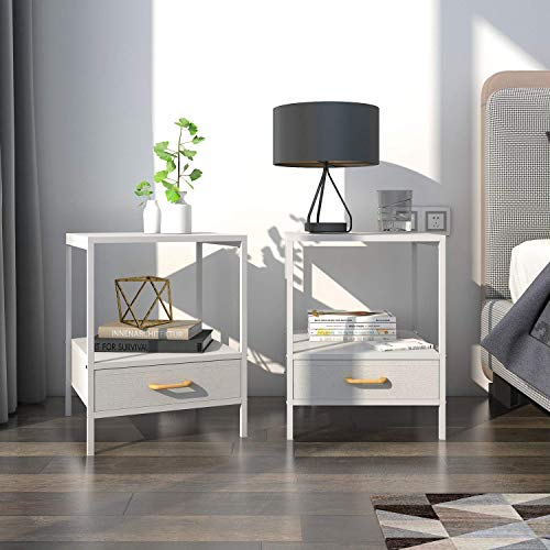 Lifewit 2 PCS Nightstand 2-Tier Bedside Table End Table with Fabric Drawer for Bedroom, Modern Design Side Table, Easy Assembly and Sturdy, White, 15.7 × 15.7 × 20 inches