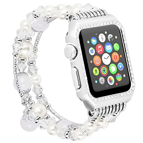 Apple Watch Band with Metal Case,Elastic Handmade Faux pearl Natural Stone Bracelet Jewelry Replacement Strap Shock-proof Rhinestone Protective Cover for iWatch Series 3,2,1 Sport Edition (White,38mm)