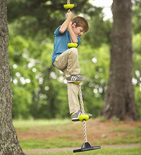 Outdoor Backyard Playground Rope Climber with Rubber Bottom Disc for Standing or Swinging for Tree or Swing Set, 250 LBS Weight Capacity, 78-Inches Long by HearthSong®