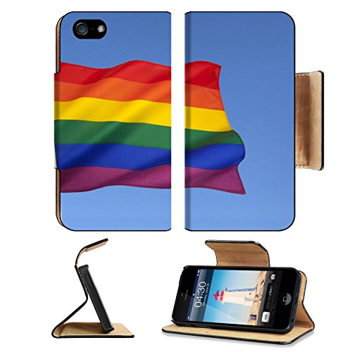 (Luxlady Premium Apple iPhone 5 iphone 5S Flip Pu Leather Wallet Case iPhone5 IMAGE ID: 24231815 The rainbow flag or gay pride flag is a symbol of lesbian gay bisexual and transgender pride It origin)