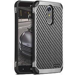 ZTE Grand X4 Case, ZTE Blade Spark Case, ZTE Grand X 4 Case, BENTOBEN Shockproof 2 in 1 Slim Hybrid Hard PC Carbon Fiber Texture Protective Case for ZTE Grand X4 / ZTE Blade Spark / ZTE Z956, Black