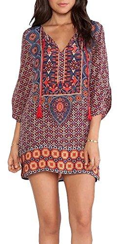 Yisqzjzj The Popular Women Bohemian Neck Tie Floral Print Ethnic Style Shift Dress Pattern 1 / OrangeMedium Shipping from USA about 2-3 days