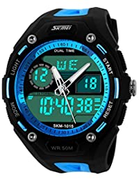 Blue Strap Blue Big Face Waterproof Sports Digital Mens Watches