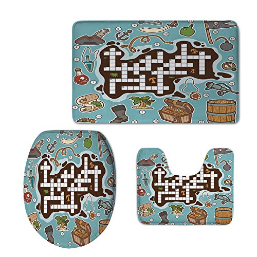 Fashion 3D Baseball Printed,Word Search Puzzle,Kids Cartoon Game Grid Numbers Finding The Right Words Pirate Icons Decorative,Multicolor,U-Shaped Toilet Mat+Area Rug+Toilet Lid Covers 3PCS/Set