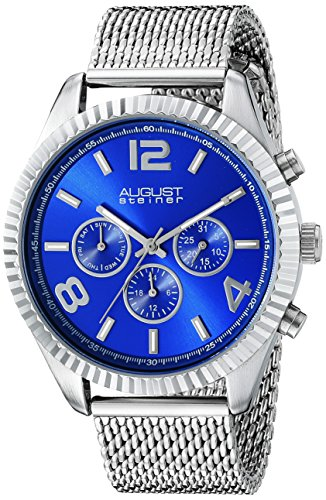 August Steiner Men's AS8196SSBU  Round Blue Radiant Sunburst Dial Two Time Zone Quartz Bracelet (Stainless Steel 2 Register Chronograph)