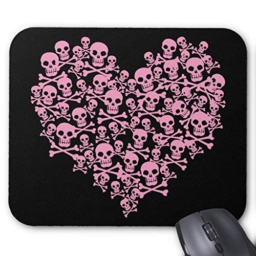 Mousepads,Customized Rubber Mousepad Gaming Mouse Pad Punk Pink Skull Heart Mouse Pad -