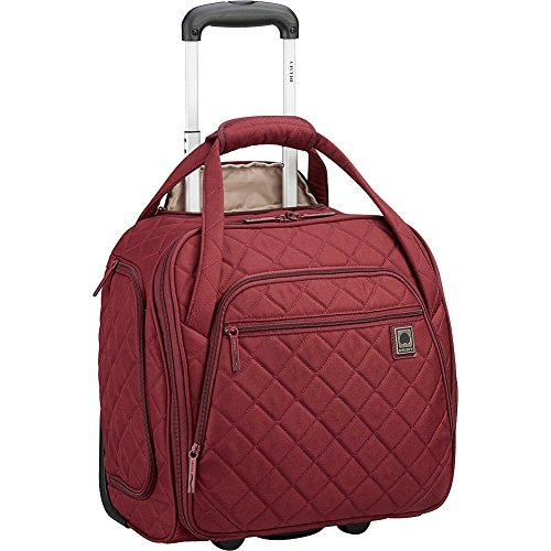 Delsey Quilted Rolling Underseat Bag For Carry-On Fits Overhead & Under Airline Seat - (Burgundy)