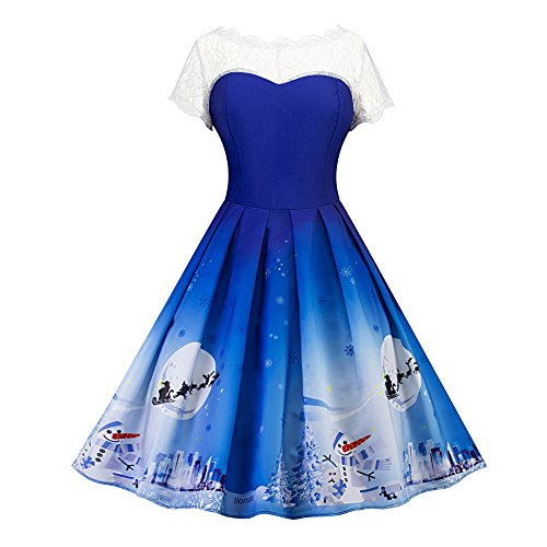 Vtements Christmas Swing Blue Ladies Vintage Dress 00 Party S Red Lace Womens LILICAT Xmas Dress rEOW8qrT