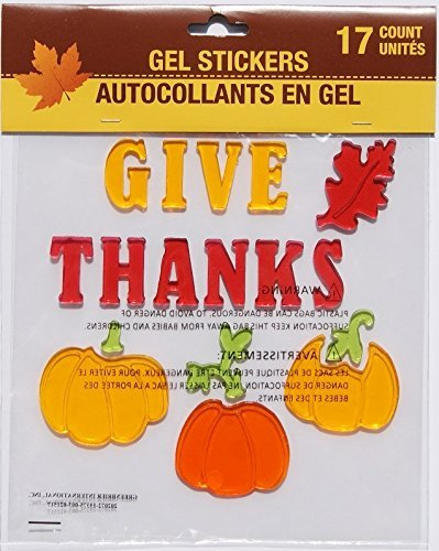 Autumn Fall Themed Gel Cling Set - Give Thanks - 17 Piece Greenbrier International Inc