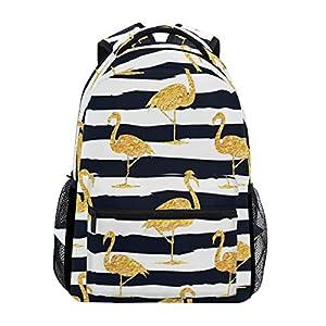 DXG1 - Zaino a righe color oro con fenicottero, da donna, per ragazzo, per scuola, scuola, viaggi, università, grande… 12 spesavip