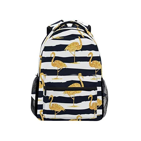 DXG1 - Zaino a righe color oro con fenicottero, da donna, per ragazzo, per scuola, scuola, viaggi, università, grande… 1 spesavip