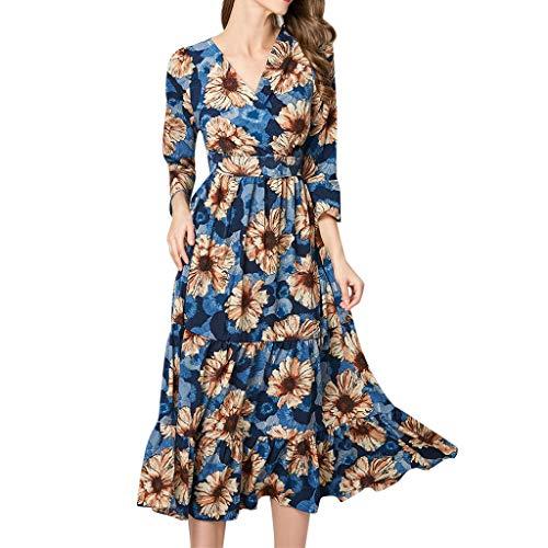 (JESPER Women Printing A-line Elegant Ruffles V-Neck Vintage Waist Peplum Rockabilly Dress Blue)