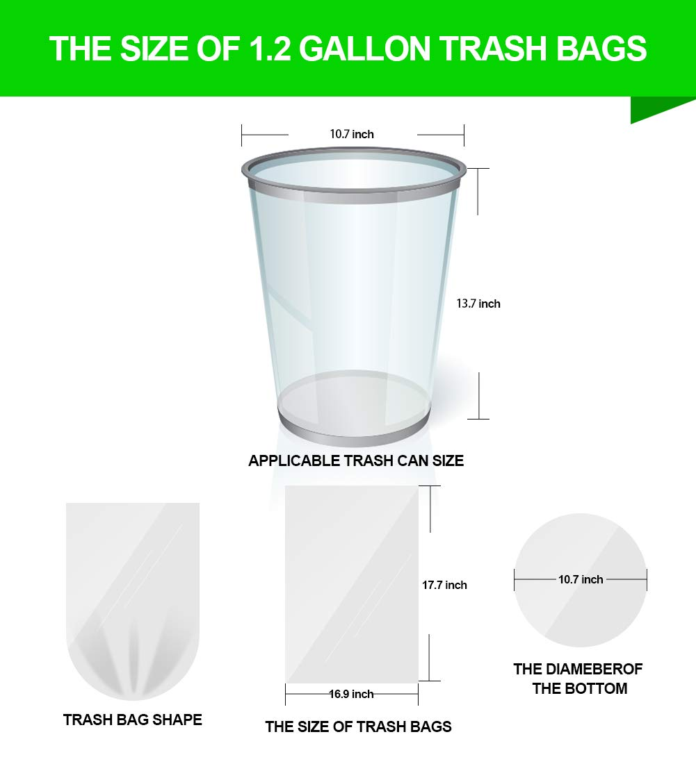 FORID 1.2 Gallon Garbage Bags 220 Count Wastebasket Bin Liners for Bathroom Bedroom Office Garbage Can Small Clear Trash Bags