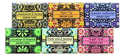 Bundle of 6 Greenwich Bay Garden Sampler Soaps - 2oz Soaps in The Following Scents: Fresh Milk & Jasmine, Tiger Lily, Sugar Rose, Chamomile & Honey, Lavender Sunflower, and Cucumber & Freesia 2 Ounce Sampler