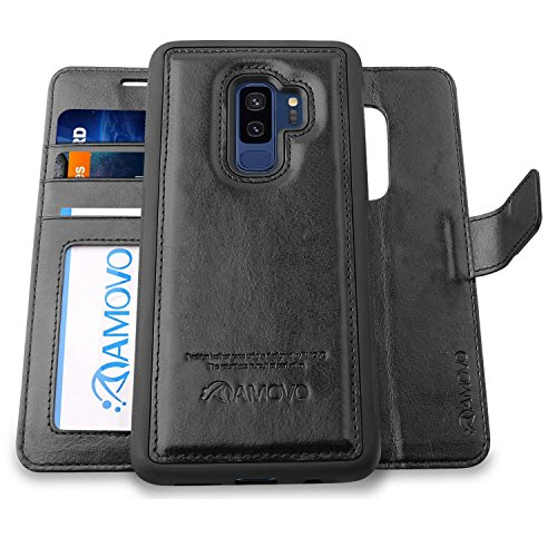 AMOVO Case for Galaxy S9 Plus [2 in 1], Samsung Galaxy S9 Plus Wallet Case [Detachable Wallet Folio] [Premium Vegan Leather] Samsung S9 Plus Flip Case Cover with Gift Box Package (Black, S9+) by Amovo