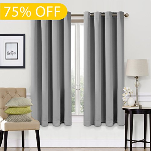 Blackout Curtains 2 Panels Set Room Darkening Drapes Thermal Insulated Solid Grommets Window Treatment Pair for Bedroom, Nursery, Living Room,W52xL63 inch,Light - Custom Treatments Window Best