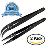 Authentic InnoVaper Precision Black Pointed & Curved Ceramic Tweezers 2-Pack
