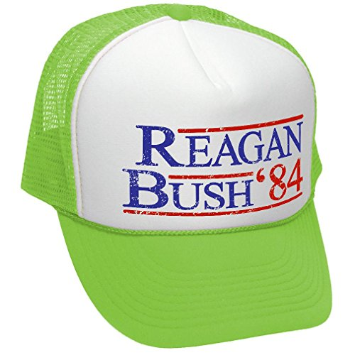 (Reagan Bush '84 - Funny Retro Vintage Style - Unisex Adult Trucker Cap Hat, Neon Green)