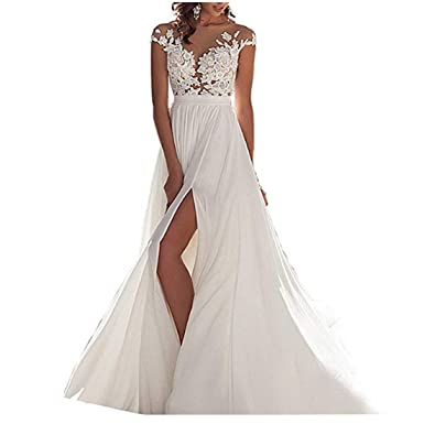 Chady Chiffon Beach Wedding Dress 2018 Lace Back Long Tail Wedding ...