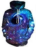 Hgvoetty Unisex Realistic 3D Print Galaxy Pullover Hoodie Hooded Sweatshirt with Pockets for Men Women