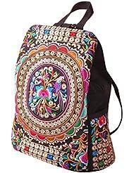 Weixinbuy Vintage Women Girls Ethnic Tribal Shoulder Bag Rucksack Retro Embroidered Backpack