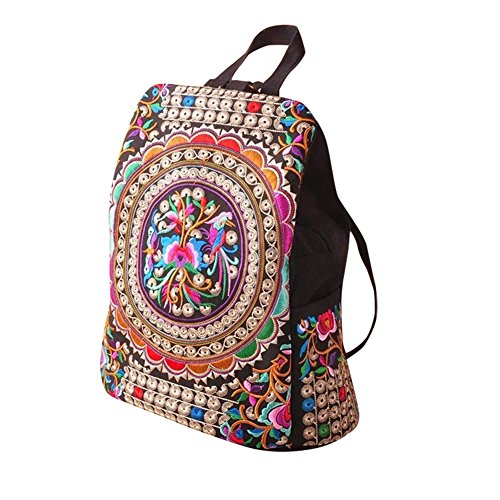 Weixinbuy Vintage Women Girls Ethnic Tribal Shoulder Bag Rucksack Retro Embroidered Backpack