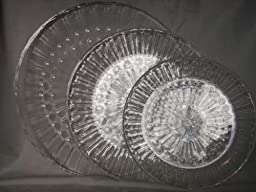 3 Clear Acrylic Round Serving Trays 9.5\