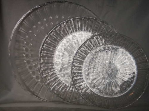 3 Clear Acrylic Round Serving Trays 9.5