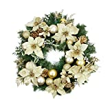 """24"""" Pre-Decorated Gold Poinsettia, Pine Cone and Ball Artificial Christmas Wreath - Unlit"""