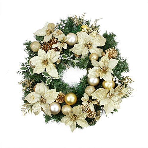 Wreath Gold Christmas (Northlight Pre-Decorated Poinsettia, Pine Cone and Ball Artificial Christmas Wreath-Unlit, 24