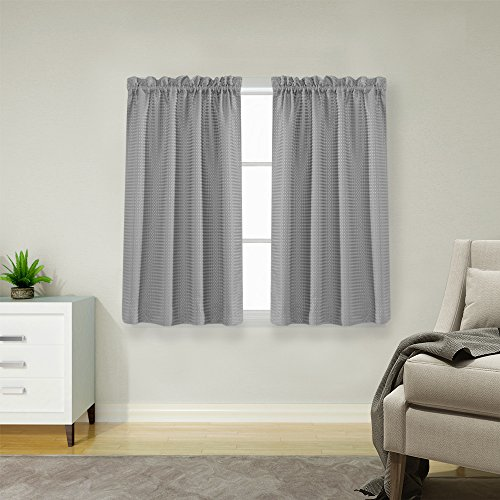Waffle Weave Half Window Curtains for Kitchen / Bathroom Window Treatment Tiers Set (72-by-45 Inch Long, Grey, One Pair) - Long Tailored Curtain Panel
