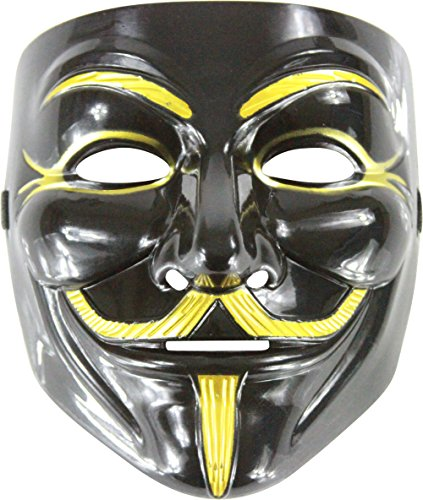 Adult Black And Gold Guido Guy Fawkes Anarchist Anonymous Mask Costume (Guido Halloween Costumes)