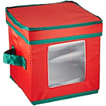 Household Essentials 530RED Holiday China Storage Chest with Lid and Handles | Storage Bin for Small Saucer Plates | Red Canvas with Green Trim