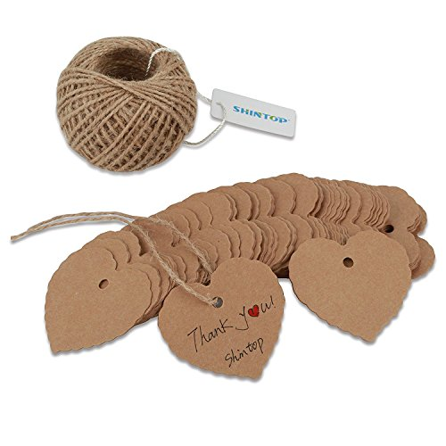 Shintop 100PCS Kraft Paper Gift Tags Bonbonniere Favor Thank You Gift Tags with Free 100 Feet Natural Jute Twine Brown (Heart Shape Paper Tag)
