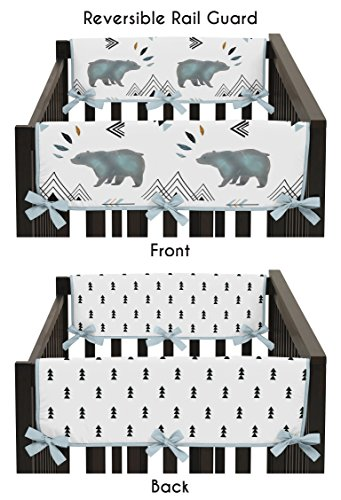 Sweet Jojo Designs 2-Piece Side Crib Rail Guards Baby Teething Cover Protector Wrap for Bear Mountain Watercolor Collection by