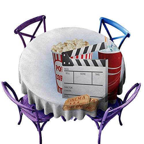 Tablecloth for Kids/Childrens,Movie Theater Soda Tickets Fresh Popcorn and Clapper Board Blockbuster Premiere Cinema,High-end Durable Creative Home,43 INCH,Multicolor