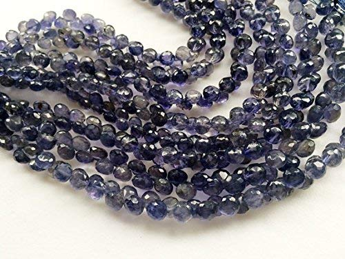 1 Strand Natural Iolite Faceted Onion Beads, Natural Iolite Onion Briolettes, Iolite Necklace, 6.5mm, 3.5 Inch by Gemswholesale ()