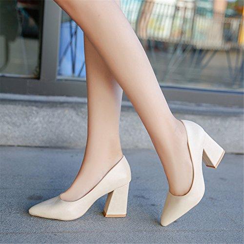 Mode Spitze Zehe Pumps, PU Leder Block Ferse Slip-on Damen Schuhe für Hochzeit Office Beige