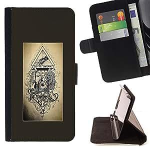 BullDog Case - FOR/Samsung ALPHA G850 / - / free mason pyramid symbolism engineer /- Monedero de cuero de la PU Llevar cubierta de la caja con el ID Credit Card Slots Flip funda de cuer