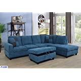 Beverly Fine Furniture F122B Right Facing Russes Sectional Sofa Set Ottoman, Velve Blue