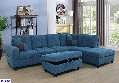 (Beverly Fine Furniture SH122B Right Facing Russes Sectional Sofa Set with Ottoman Blue)