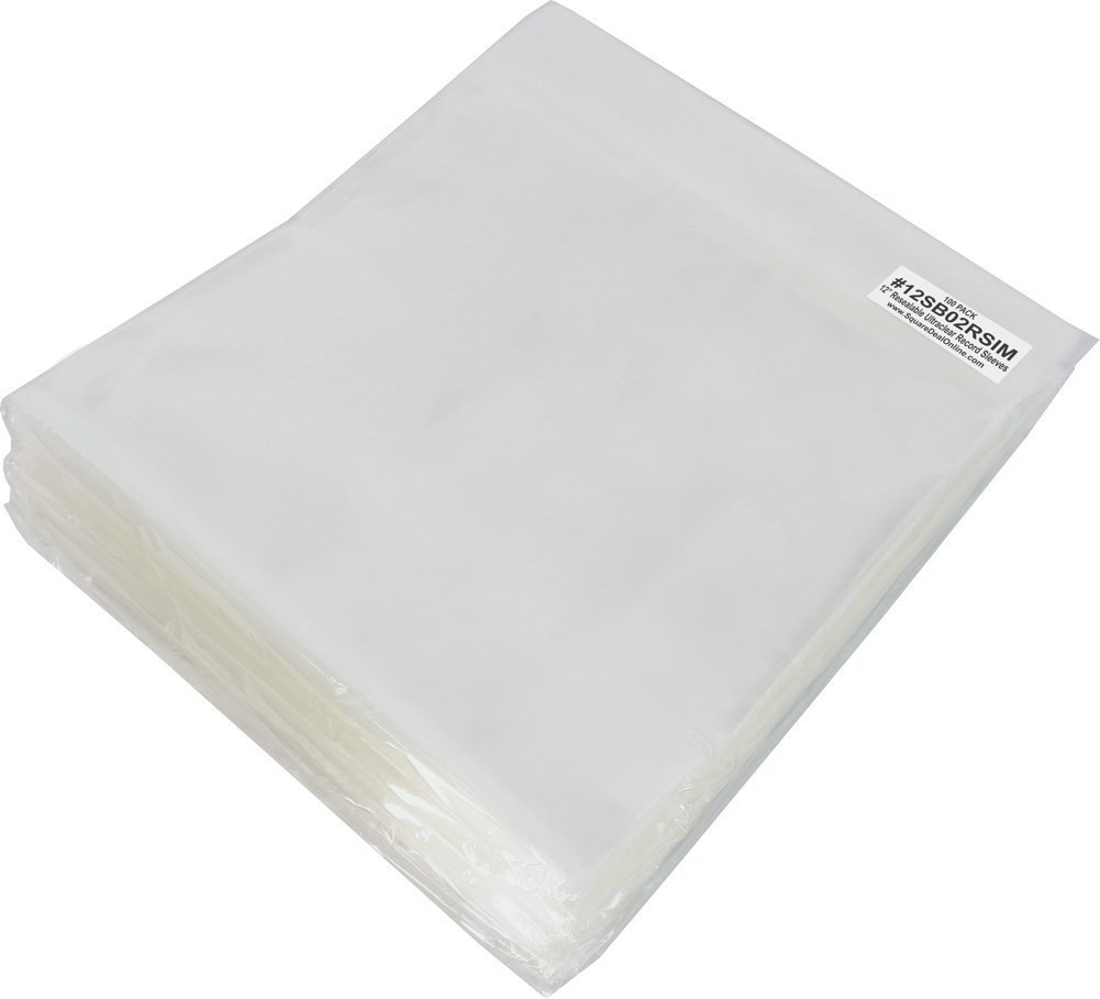 (500) Plastic Super Polyclear (BOPP) RESEALABLE Outer Sleeves for 12'' Vinyl Records #12SB02RSIM by Square Deal Recordings & Supplies