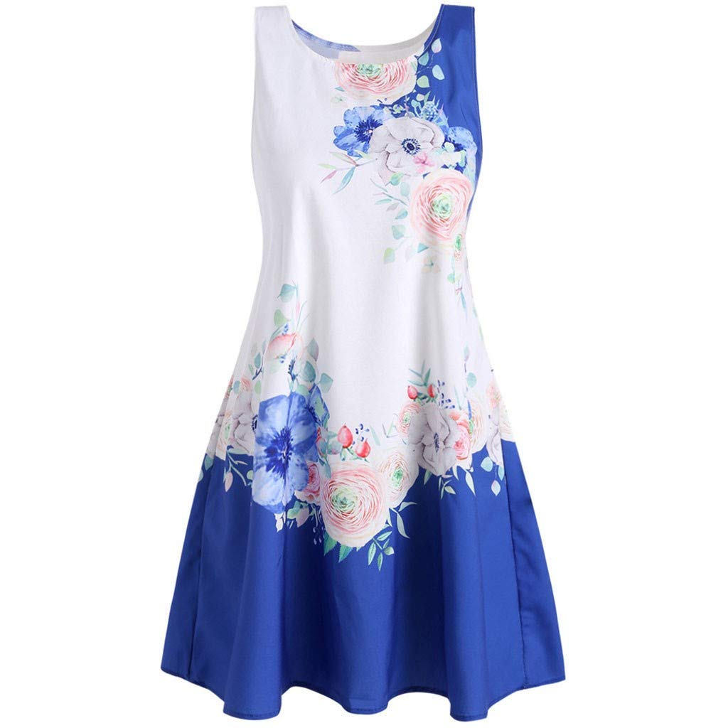 Euone Dress Clearance, Women Casual Printed Round Neck Sleeveless Tank Dress