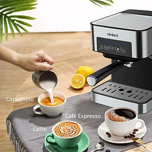 ELEHOT Cafetera Express Cafetera Espresso de Bomba Automática con Boquilla de Espuma de Leche Profesional 15 Bares Capacidad 1.8L Control Tactil,Todo Acero ...
