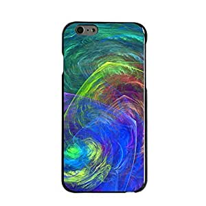 """Black Hard Plastic Snap-On Case for iPhone 6 (4.7"""") - Abstract Color Light Swirl Customized LO.O Case"""